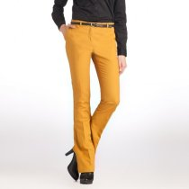 pantaloni bootcut din satin stretch